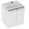 Выключатель 1Р, двухклавишный, откр. уст. IP55, 2НО, 10 А/250 В АС, с самозажимными клеммами, бел. RAL9010