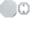 Напольный распределитель для гибких и алюминиевых коробов Hager, основание, крышка, крепёж, сталь окрашенная, RAL7035 светло-серый