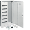 Щит Hager скрытой установки, 1 секция для модульных устройств 72 мод., 1 секция с перфорированной монтажной панелью + розетка 3 гнезда(поворотная) + пач-панель. Сделано в Германии