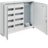 Щит Hager наружной установки, 2 секция для модульных устройств по 48 мод.(96), 1 секция с перфорированной монтажной панелью + розетка 4 гнезда. Сделано в Германии