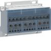 Распределительный блок Hager для оголённых кабелей, моноблочный, 4P, 100A, Icc=20кА, Ui=500В, 3х(1х25+2х10+5х6)мм?+(1х25+6х10+4х6)мм?, на дин-рейку или монт. панель, ширина 5,5М