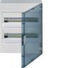 Щит vega Hager навесной раcпределительный 2 ряда, 36М, до 90А 400В АС, с клеммами N/PE, дверь прозрачная матовая, RAL9010