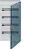 Щит vega Hager навесной раcпределительный 4 ряда, 72М, до 125А 400В АС, с клеммами N/PE, дверь прозрачная матовая, RAL9010
