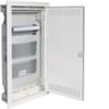 Щит Volta Hager скрытой установки, мультимедийный с монтажными панелями, тройной розеткой Schuko, патч-панелью и держателем роутера, IP30, RAL9010, made in Germany